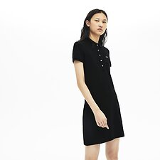 Image of Lacoste BLACK WOMEN'S SLIM FIT CORE POLO DRESS