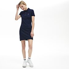 Image of Lacoste NAVY BLUE WOMEN'S SLIM FIT CORE POLO DRESS