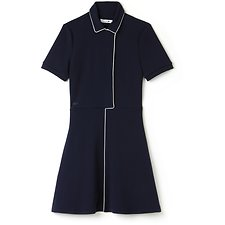 Image of Lacoste NAVY BLUE/FLOUR WOMEN'S POLO DRESS WITH PIPING