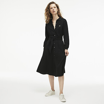 Image of Lacoste  WOMEN'S LONG SLEEVE PIQUE POLO DRESS