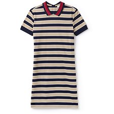 Image of Lacoste VIENNESE/NAVY BLUE-FLOUR WOMEN'S STRIPE POLO DRESS WITH CONTRAST COLLAR