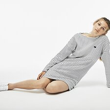 Image of Lacoste FLOUR/NAVY BLUE WOMEN'S LONG SLEEVE STRIPE DRESS