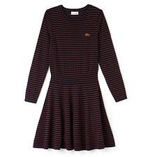 Image of Lacoste NAVY BLUE/NEVADA ORANGE WOMEN'S LONG SLEEVE STRIPE SWEATER DRESS