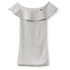 Image of Lacoste SILVER CHINE WOMEN'S FASHION SHOW OFF SHOULDER DRESS