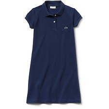 Image of Lacoste MATELOT CHINE KIDS' GIRLS POLO DRESS WITH POCKET
