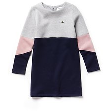 Image of Lacoste NAVY BLUE/PLUVIER CHINE-M KIDS' COLOUR BLOCK SWEAT DRESS