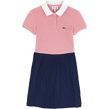 Image of Lacoste NAVY BLUE/MELITTE-WHITE KIDS' COLOUR BLOCK POLO DRESS