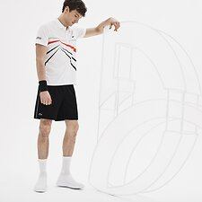Image of Lacoste BLACK/WHITE MEN'S SPORT NOVAK DJOKOVIC TRAINING SHORTS