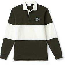 Image of Lacoste BAOBAB/FLOUR MEN'S COLOUR BLOCK RUGBY WITH BADGE