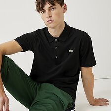 Image of Lacoste BLACK SHORT SLEEVE SPORT POLO