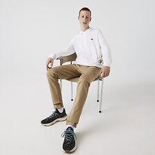 Image of Lacoste WHITE LONG SLEEVE CLASSIC FIT POLO