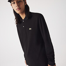 Image of Lacoste BLACK LONG SLEEVE CLASSIC FIT POLO