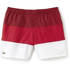 Image of Lacoste TURKEY RED/TOREADOR-WHITE MEN'S COLOUR BLOCK SWIM SHORT
