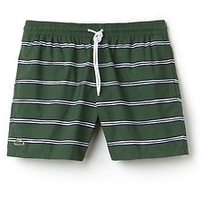 Image of Lacoste GREEN/MULTICO MEN'S PRINTED STRIPE SWIM SHORT