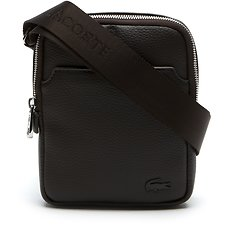 Image of Lacoste CHOCOLATE BROWN MEN'S GAEL X-SMALL FLAT CROSSOVER BAG
