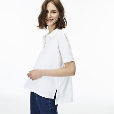 Image of Lacoste WHITE WOMEN'S RELAXED FIT POLO