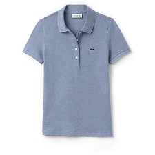 Image of Lacoste ELECTRIC/VANILLA PLANT WOMEN'S RETRO FIT POLO WITH TONAL CROC