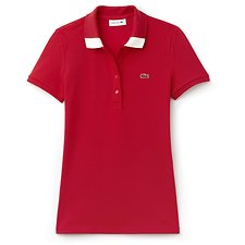 Image of Lacoste TOREADOR/FLOUR WOMEN'S RETRO POLO WITH COLLAR TRIM