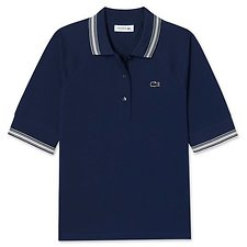 Image of Lacoste NAVY BLUE/VANILLA PLANT WOMEN'S MERCERISED POLO WITH CONTRAST TRIM