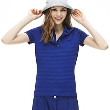 Image of Lacoste CAPTAIN/NAVY BLUE WOMEN'S STRIPED POLO