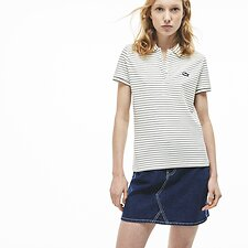 Image of Lacoste FLOUR/NAVY BLUE WOMEN'S STRIPED POLO