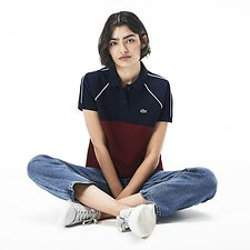 Image of Lacoste NAVY BLUE/PINOT-FLOUR WOMEN'S TWO TONE BLOCK POLO