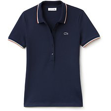 Image of Lacoste NAVY BLUE WOMEN'S 3/4 POLO WITH TIPPING