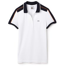 Image of Lacoste WHITE/NAVY BLUE-APRICOT WOMEN'S ROLAND GARROS COLOUR BLOCK POLO