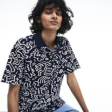 Image of Lacoste NAVY BLUE/WHITE WOMEN'S KEITH HARING PRINT POLO