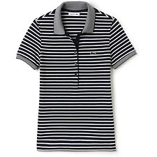 Image of Lacoste NAVY BLUE/FLOUR WOMEN'S SLIM FIT STRIPE POLO