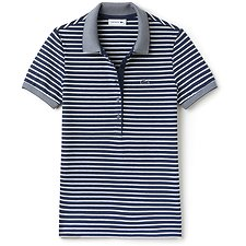 Image of Lacoste ANCHOR CHINE/FLOUR WOMEN'S SLIM FIT STRIPE POLO