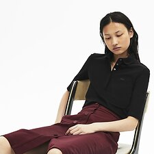 Image of Lacoste BLACK WOMEN'S 3/4 SLEEVE SLIM STRETCH POLO