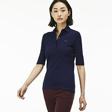 Image of Lacoste NAVY BLUE WOMEN'S 3/4 SLEEVE SLIM STRETCH POLO