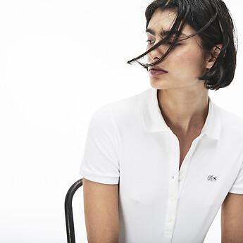 Image of Lacoste  WOMEN'S 5 BUTTON SLIM STRETCH CORE POLO