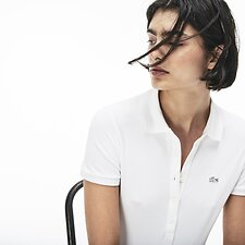 Image of Lacoste WHITE WOMEN'S 5 BUTTON SLIM STRETCH CORE POLO