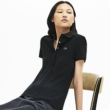 Image of Lacoste BLACK WOMEN'S 5 BUTTON SLIM STRETCH CORE POLO