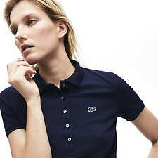Image of Lacoste NAVY BLUE WOMEN'S 5 BUTTON SLIM STRETCH CORE POLO