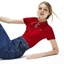 Image of Lacoste RED WOMEN'S 5 BUTTON SLIM STRETCH CORE POLO