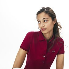 Image of Lacoste BORDEAUX WOMEN'S 5 BUTTON SLIM STRETCH CORE POLO
