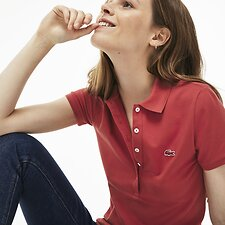 Image of Lacoste GOJI RED WOMEN'S 5 BUTTON SLIM STRETCH CORE POLO