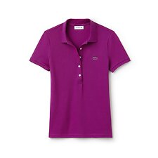 Image of Lacoste CARDINAL RED WOMEN'S 5 BUTTON SLIM STRETCH CORE POLO