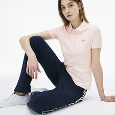 Image of Lacoste FLAMINGO WOMEN'S 5 BUTTON SLIM STRETCH CORE POLO