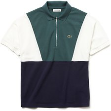 Image of Lacoste ACONIT/FLOUR-NAVY BLUE WOMEN'S COLOUR BLOCK POLO WITH ZIP