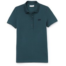 Image of Lacoste ACONIT/NAVY BLUE WOMEN'S SLIM STRETCH STRIPE POLO