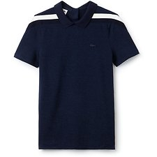 Image of Lacoste INKWELL/BLACK-NAVY BLUE WOMEN'S MADE IN FRANCE CONTRAST TRIM POLO