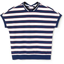 Image of Lacoste FLOUR/INKWELL-IMPERIAL RE WOMEN'S REVERSE BUTTON STRIPE POLO
