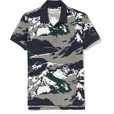 Image of Lacoste STONE CHINE/MULTICO WOMEN'S ALL OVER MOUNTAIN PRINT POLO