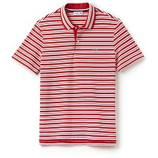 Image of Lacoste GRENADINE/WHITE REGULAR FIT STRIPE POLO