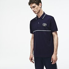 Image of Lacoste NAVY BLUE/ACONIT-FLOUR MEN'S SLIM FIT POLO WITH BADGE