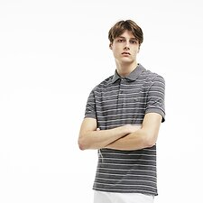 Image of Lacoste GALAXITE CHINE/WHITE-NAVY MEN'S STRIPE POLO